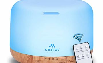 Miserwe 500ML Essential Oil Diffuser Adjustable Mist Mode and Waterless Auto Shut-Off with Wireless Remote, 7 LED Light Colors for Office Home Bedroom Living Room