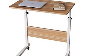 DlandHome Laptop Stand Adjustable Computer Standing Desk Movable w/Wheels, Portable Side Table for Bed Sofa Hospital Reading Eating