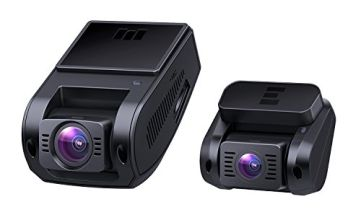 AUKEY Dash Cam Dual 1080P HD Front and Rear Dash Cam 6-Lane 170° Wide-Angle Lens, Supercapacitor, WDR Night Vision Car Camera with G-Sensor, Loop Recording and Dual-Port Car Charger