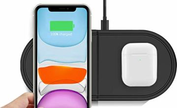 Kdely Wireless Charger 2 in 1 Fast Charging Duo Pad 7.5W for iPhone 11/11 Pro/11 Pro Max/XS/XS Max/XR/X/8/8 Plus/Airpods Pro, 10W for Samsung Galaxy S20 ultra/S20/S10/S10e/S10+/S9/S8/S7, Note 10/9/8