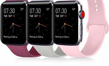 ATUP Strap Compatible with for Apple Watch Strap 38mm 42mm 40mm 44mm, Soft Silicone Replacement Straps Compatible with for iWatch Series 4, 3, 2, 1 (38mm/40mm-S/M, 3-Pack Wine red+Grey+Pink)