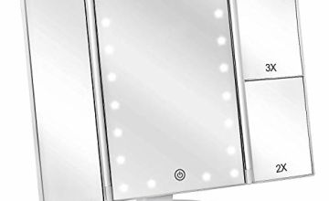 deweisn Tri-Fold Lighted Vanity Mirror with 21 LED Lights, Touch Screen and 3X/2X/1X Magnification Mirror, Two power Supply Mode Tabletop Makeup mirror,Travel Cosmetic Mirror(Gold)