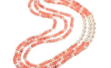 TreasureBay Three Rows Natural Pink Coral and FreshWater Pea
