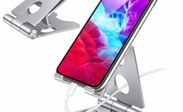Phone Stand, Adjustable Phone Dock - Universal Stand, Holder, Dock Compatible with Phone 11 Pro Xs Xs Max XR X 8 7 6S Plus, HUAWEI, Samsung S10 S9, All 3.5-8 inch Devices - Silver