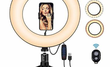 """ROOGELD 10"""" LED Ring Light,Flexible Phone Holder & Tripod stand & Bluetooth Receiver,Color Temperature 3300K-6500K,Dimmable 3 Light Modes & 10 Brightness for YouTube & Streaming,Makeup"""