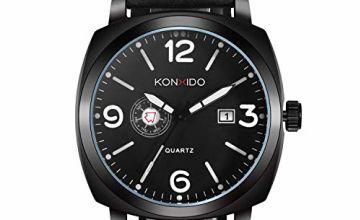 KONXIDO Mens Analog Quartz Watch with Genuine Leather Band U