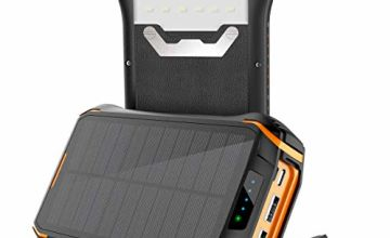 Portable Phone Charger Solar Charger 26800mAh Solar Power Bank Huge Capacity for Outdoor, 3 USB Outputs 2 Inputs, Water-Resistant Charger Battery Pack with LED Flashlight Compatible Smartphone, Tablets