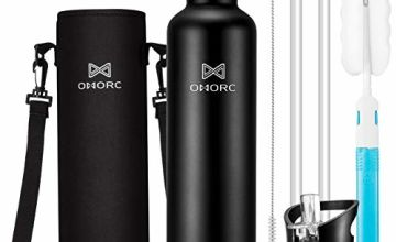 OMORC Stainless Steel Water Bottle 1000ml/600ml 5 Layers Powerful Insulated Vacuum Flask Keeps Hot to 14Hrs,Cold to 28+Hrs,BPA-Free Reusable Drink Flask,Portable & Leak-Proof with Neoprene Sleeve