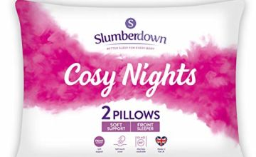 Save on Slumberdown Cosy Nights Pillows, Pack of 2, Soft Support, Designed for Front Sleepers and more