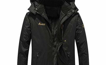 FEDTOSING Men's Outdoor Jacket Windproof Coat Fleece Lining Hiking Climbing Ski Sports Water-Resistant Winter with Hoodie