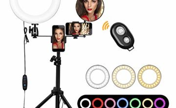 LED Ring Light, morpilot 10 Inch LED Ring Light Dimmable with Light Stand & Phone Holder & Remote Control for YouTube Self-Portrait of Video Recording, Portrait Photography, Live Broadcasting