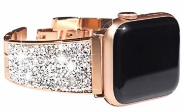 KADES Stainless Steel Strap Compatible for Apple Watch 40mm/44mm, Women Link Bracelet Compatible for iWatch 38mm/42mm with Swarovski Crystals, Black