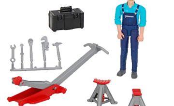 Bruder Toys 62100 Play Figure Mechanic + Garage equipment Jack Stands Tools 1:16