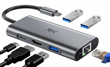 YXwin USB C Hub Adapter, USB C to HDMI 4K, 6 in 1 USB C Dock Dongle with Gigabit Ethernet RJ45, Type C Power Delivery Port, 3 USB 3.0 Ports for Macbook Pro/Air, Samsung, Huawei, XPS, and More