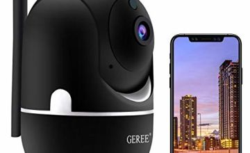GEREE WiFi IP Camera 1080P Pan/Tilt/Zoom Indoor Security Camera Baby Monitor with Cloud Storage, Motion Detection, 2-Way Audio, IR Night Vision, Wireless Home Surveillance Camera for Baby/Elder/Pet