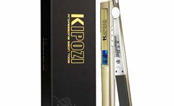 KIPOZI Pro Hair Straighteners UK 230 Digital LCD Titanium Anti Frizz Hair Dual Voltage Auto Off,Golden