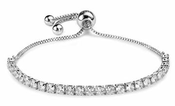 J.Fée Women Sterling Silver Bracelet Adjustable Crystal Tennis Bracelet Diamond Zirconia Girl Bracelet Halloween Day Gift for Women Wife Mon Lady Bracelet for Anniversary Birthday Wedding