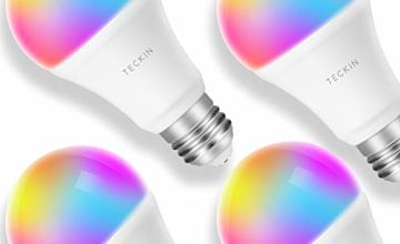 Smart Light Bulb LED WiFi Lamp E27 Dimmable and Multicolor Works with Phone, Google Home (No Hub Required), TECKIN A19 60W Equivalent RGB Bulb (8W), with Schedule Function, 4 Pack