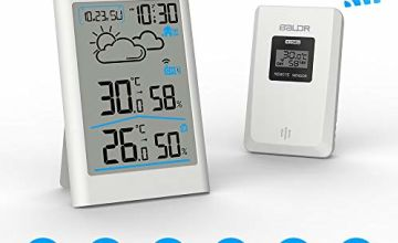 Wireless Weather Station, Digital Weather Station Radio with outdoor sensor, Digital Thermometer Hygrometer Indoor outdoor room humidity with weather forecast, clock, alarm and night light (White)