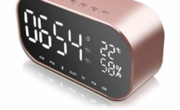 Digital Alarm Clock Bluetooth Speaker, Digital Clocks Bedside with Dual USB Charging Port, Dual 3W Driver Stereo Speaker,FM Radio,4.2 Bluetooth,AUX TF Card,Dimmable,Snooze,Thermometer