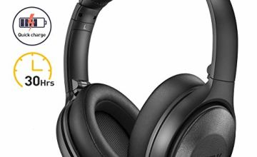 Mpow H17 Noise Cancelling Headphones, [Up to 30Hrs] Bluetooth Headphones Over Ear, Rapid Charge, Hi-Fi Stereo Sound, Soft Protein Ear Pads, Foldable Wireless Headset for Travel Work TV PC Cellphone