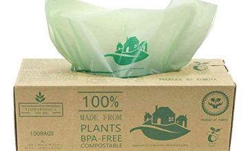 Kumoya Compostable Biobag Kitchen Caddy Liners 6L-30L Food Waste Bin Liners, 100 Bags