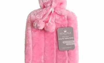 Revitale Luxury Cosy Faux Fur Pom Pom Hot Water Bottle - 2 Litre