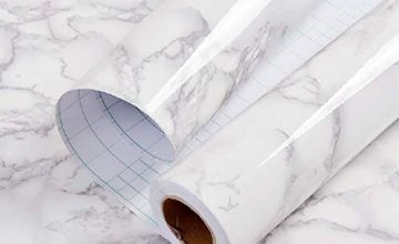 Marble Contact Paper Granite Gray/White Wallpaper Sticky Back Plastic Roll Kitchen countertop Furniture renovated Thick Waterproof PVC Easy to Remove Without Leaving Marks Upgrade
