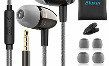 Blukar Earphones, In-Ear Headphones Earphones with Pure Sound and High Sensitivity Microphone-Noise Isolating, High Definition, Tangle Free for iPhone, iPod, iPad, Tablets and All 3.5mm Audio Jack