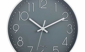HZDHCLH Wall Clock 12 Inch Silent Non TickingClock for Living Room Bedroom Kitchen Office (Silver)