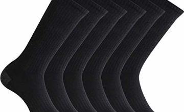 Closemate Men's Cushion Crew Calf Socks Moisture Wicking Athletic Cotton Socks for Sport Training Work UK Size Men 9-12, 3/6 Pairs (Black/White)