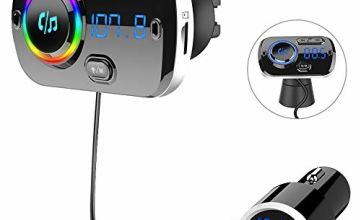 SONRU Newest FM Transmitter Bluetooth 5.0, Bluetooth Car Radio Transmitter Handsfree Car Kit QC3.0 USB Car Charger, Support TF Card AUX Input, Crystal Sound, Color Light, 1.1M Cable, 2 Install Ways