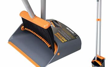 Broom and Dustpan Set, Sweeper and Dust pan Combo with 54 Inch Long Handle for Household Cleaning Sweeping