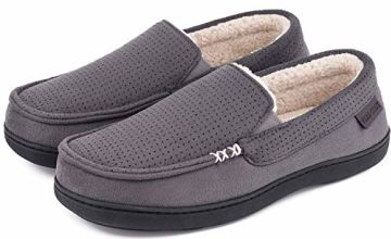 VeraCosy Men's Women's Comfy Suede Memory Foam Moccasin Slippers Warm Sherpa Lining House Shoes with Anti-Skid Rubber Sole