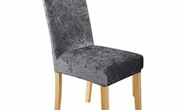 UMI. Essentials Elastic Dining Chair Covers Stretch Melange Velvet Removable Chair Protector