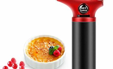 RenFox Blow Torch Kitchen Blow Torch Refillable Butane Gas Torch Lighter Professional Culinary Butane Torch Adjustable Flame with Safety Lock Mini Gas Torch for Cooking Creme Brulee Baking BBQ Crafts