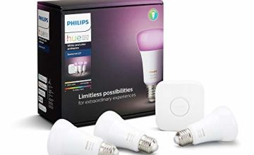 Philips Hue White and Colour Ambiance Starter Kit: Smart Bulb 3x Pack LED [E27 Edison Screw] Includes, Bridge (Works with Alexa, Google Assistant and Apple HomeKit)