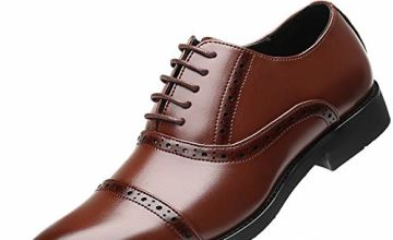Semi Brogue Shoes Business Shoes Mens Dress Lace Up Derby Faux Leather Shoes Wide Fit Oxford Shoes Wedding Party Office Tan Brown 9 UK