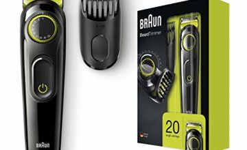 Braun BT3021 Beard Trimmer and Hair Clipper, Lifetime Sharp Blades, Black/Volt Green