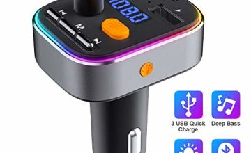 HOLALEI FM Transmitter Car Kit Bluetooth 5.0 Deep Bass Car Radio Audio Adapter with Dual USB Charger & PD Ports LED Car Voltage Display, Hands-free call 8 Color Backlit, U Disk/TF Card Music Play