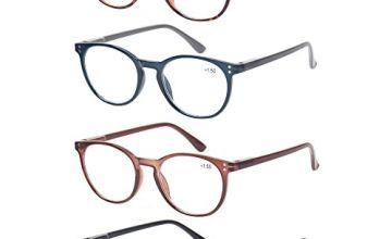 4 Pack Retro Round Reading Glasses Men Women Spring Hinges Lightweight Quality Readers