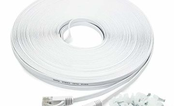 15m/50ft Flat Ethernet Cable, CAT.6 50ft Network Cable (RJ45) | High Speed 10/100/1000Mbit/s | Patch cable | UTP | compatible with CAT.5 / CAT.5e / CAT.7 |