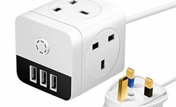 Mscien 2M Mini Cube Extension Lead with 3 USB, 4 Way Switched UK Sockets 13Amp Power Extension Cord, Black&White