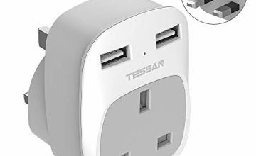 USB Plug Adaptor UK with 2 USB Slots, TESSAN 1 Way Socket Extension Multi USB Wall Charger Adapter, Dual USB Outlet Extender, Mini for Home, Office