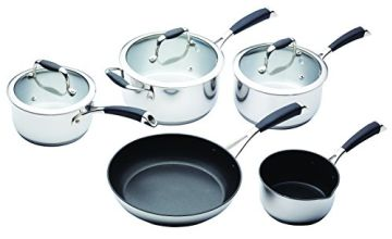 KitchenCraft MasterClass Induction Ready Pan Set Including Non Stick Milk Pan and Non Stick Saute Pan, Stainless Steel, 5 Pieces