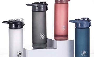 HONGZ Leak Proof Water Bottle with Straw, Bpa-free, Eco-friendly Bottle for Kids,Adults,Sports,Office,Travel,School | Tritan Plastic Drinks Bottle | Opens with One Click - 550ml, 750ml, 900ml