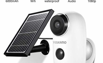 YESKAMO Battery Security Cameras Rechargeable & Solar Powered Wire Free 1080P Wifi Cameras Magnetic Wall Mount, Outdoor/Home CCTV Camera with SD Socket, 2 Way Audio, Night Vision, PIR & Motion Sensor