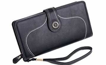 Ladies Soft PU Leather Purse Large Capacity Womens Wallets RFID Blocking with Wrist Strap 26 Card Slots, Ladies Purse Wallet with Zip Pocket Coins Compartment, Leather Purses for Women