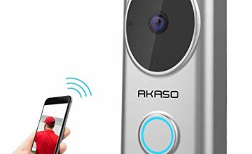 Video Doorbell, AKASO WiFi Doorbell Camera Compatible with Alexa 720P HD 2.4G WiFi Smart Wireless Doorbell IP65 Waterproof Home Security Two-Way Talk & Video PIR Motion Detection Night Vision