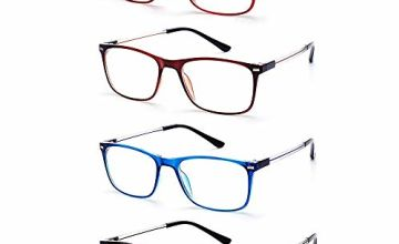 EFE Reading Glasses for Men and Women, 4 Pack Fashion Style Thin Eyewear Readers with case